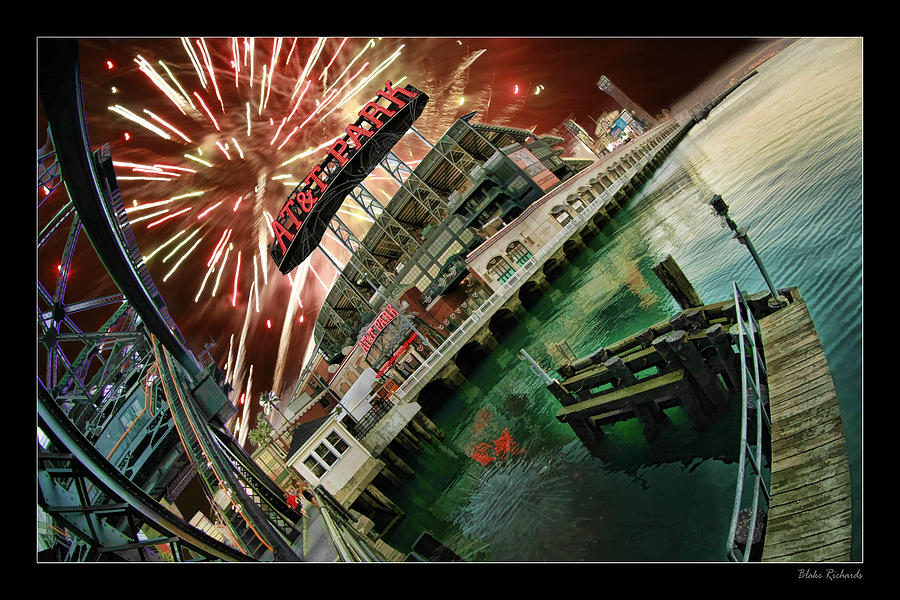 Att Park And Fire Works Photograph  - Att Park And Fire Works Fine Art Print