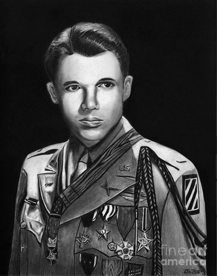 Audie Murphy Drawing  - Audie Murphy Fine Art Print