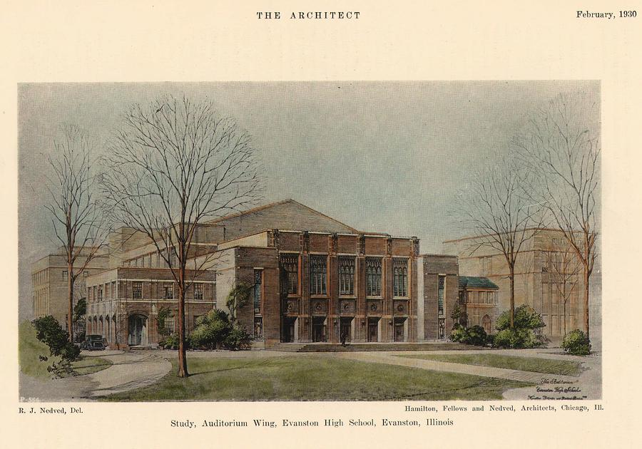 Auditorium Of Evanston High School. Evanston Illinois 1930 Painting  - Auditorium Of Evanston High School. Evanston Illinois 1930 Fine Art Print
