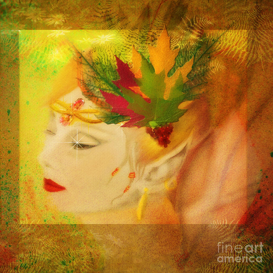 Audrey Hepburn Autumn Fae Mixed Media  - Audrey Hepburn Autumn Fae Fine Art Print