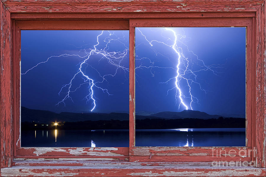 August 5th Lightning Storm Red Picture Window Frame Photo Art Photograph  - August 5th Lightning Storm Red Picture Window Frame Photo Art Fine Art Print