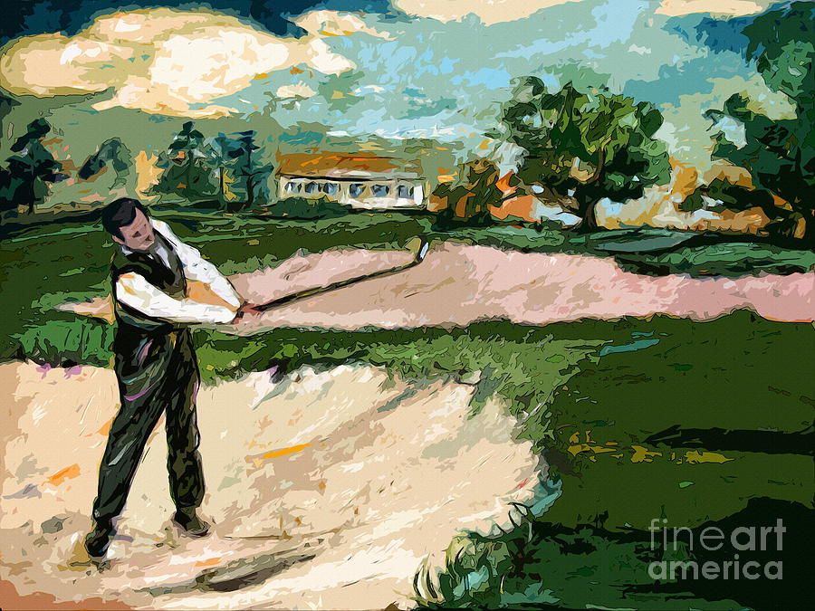 Augusta National Bobby Jones Vintage Golf Painting
