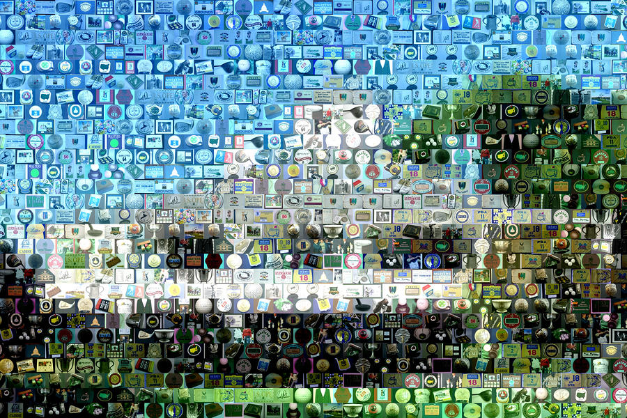 Augusta National Clubhouse Mosaic Mixed Media  - Augusta National Clubhouse Mosaic Fine Art Print