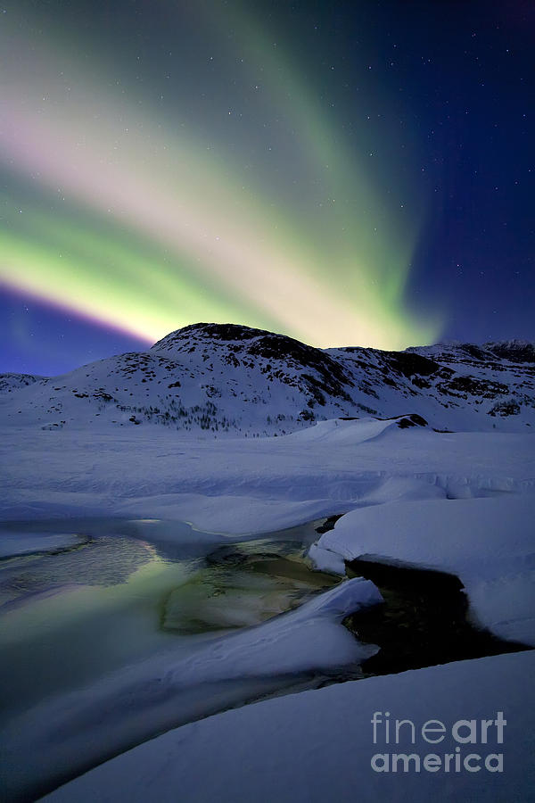 Aurora Borealis Photograph - Aurora Borealis Over Mikkelfjellet by Arild Heitmann