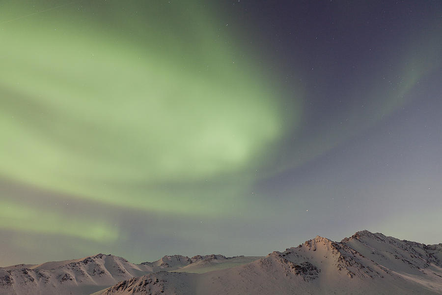 Alaska Photograph - Auroras Over Mountains by Tim Grams