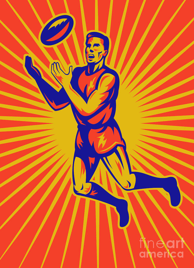Aussie Rules Player Jumping Ball Digital Art