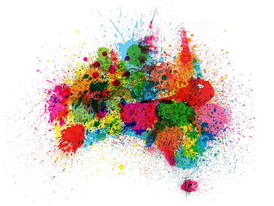 Australia Paint Splashes Map Digital Art  - Australia Paint Splashes Map Fine Art Print