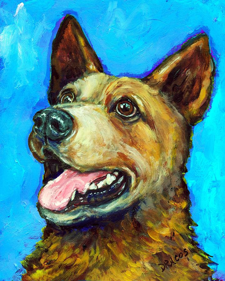 Australian Cattle Dog   Red Heeler  On Blue Painting  - Australian Cattle Dog   Red Heeler  On Blue Fine Art Print
