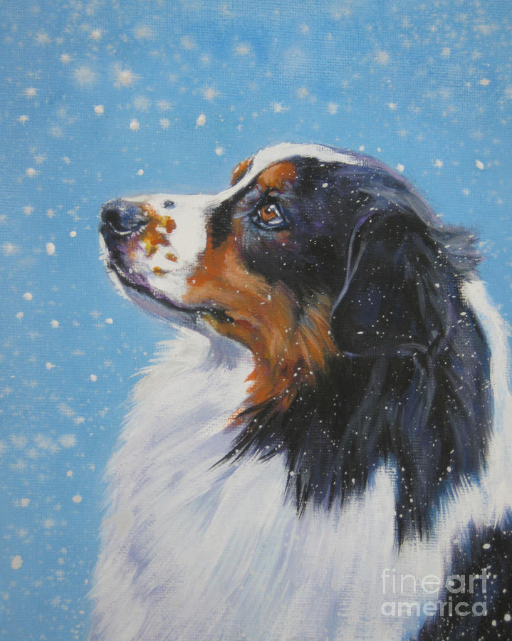 Australian Shepherd In Snow Painting  - Australian Shepherd In Snow Fine Art Print