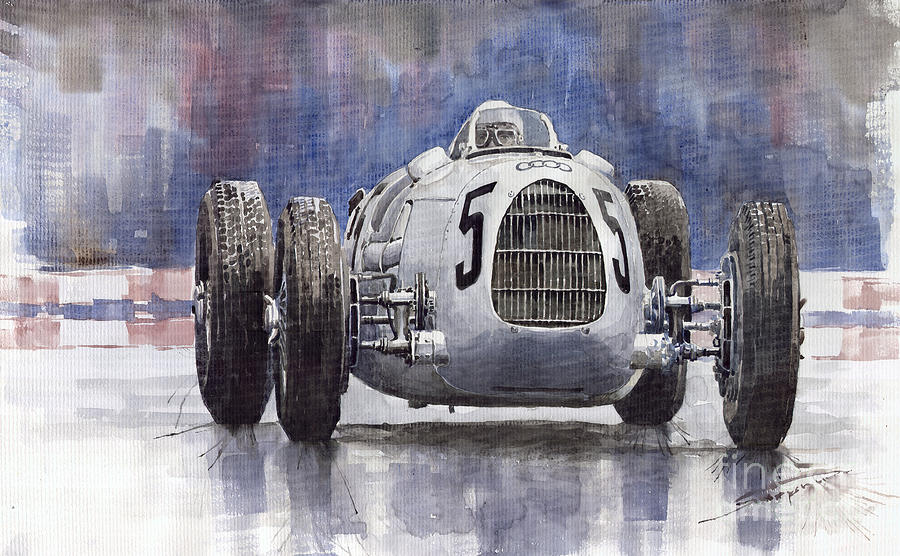 Auto-union Type C 1936 Painting  - Auto-union Type C 1936 Fine Art Print