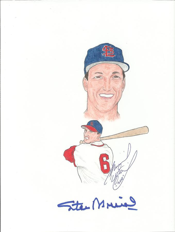 Autographed Stan Musial Drawing