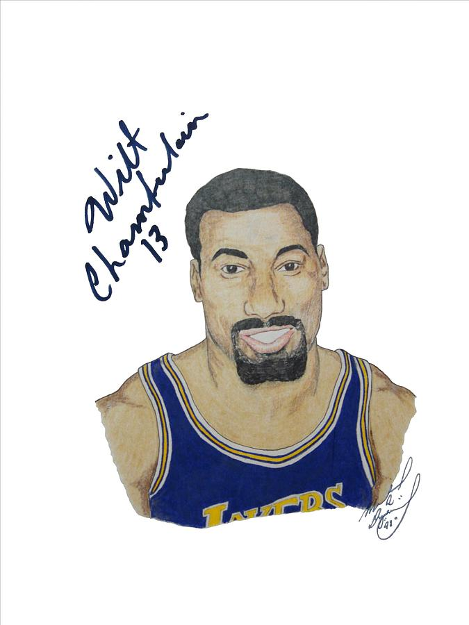 Autographed Wilt Chamberlain Portrait Upper Deck Authenticated Drawing