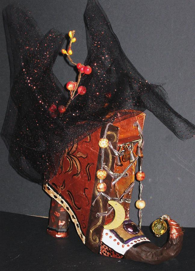 paper Mache Painting - Autum Boot by Cathi Doherty