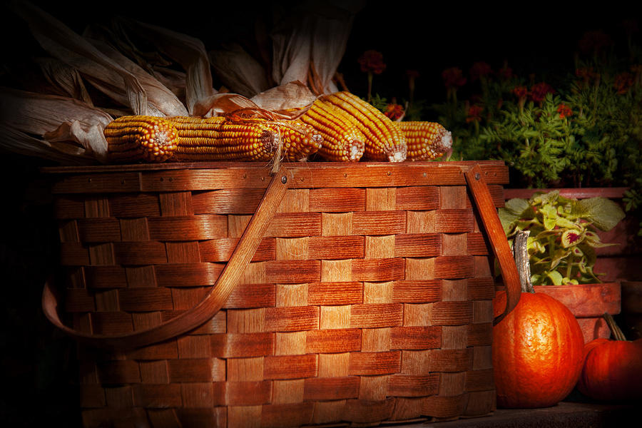 Picnic Photograph - Autumn - Gourd - Fresh Corn by Mike Savad