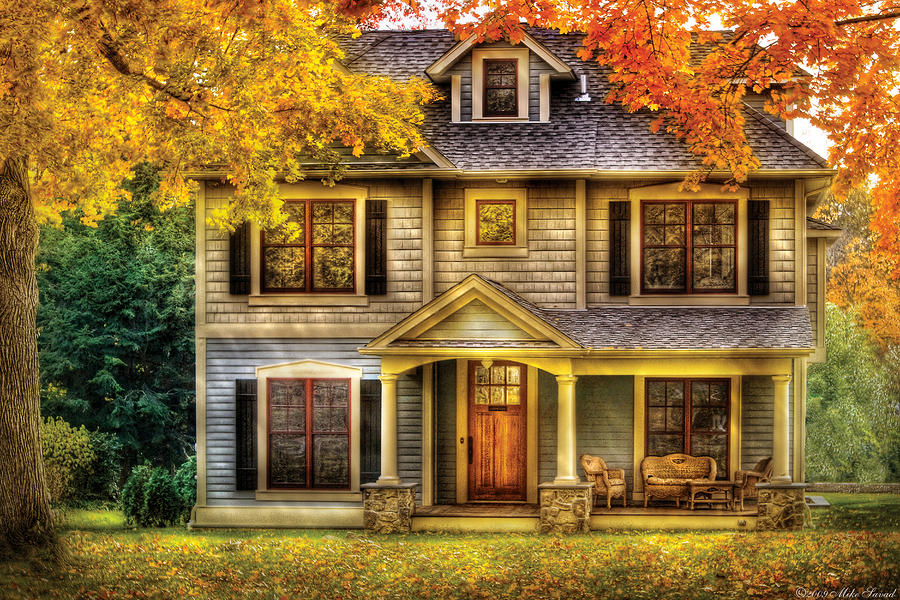 Autumn - House - Cottage  Photograph  - Autumn - House - Cottage  Fine Art Print