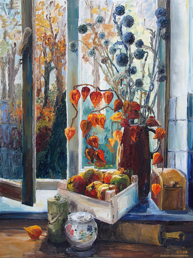 Autumn At The Kitchen Window Painting  - Autumn At The Kitchen Window Fine Art Print