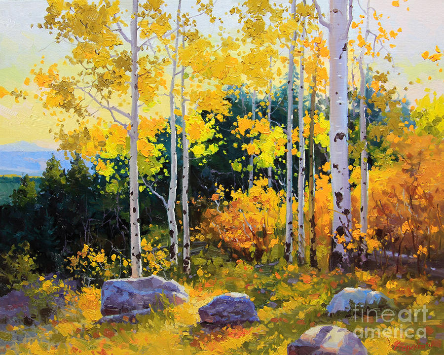 Autumn Beauty Of Sangre De Cristo Mountain Painting  - Autumn Beauty Of Sangre De Cristo Mountain Fine Art Print