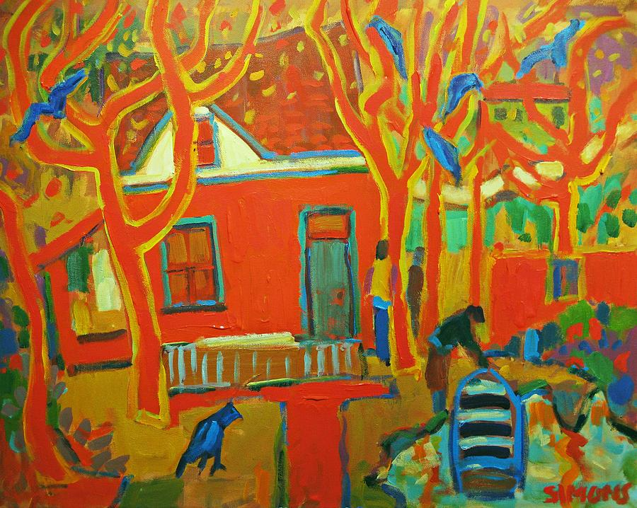 Autumn Cottages Painting  - Autumn Cottages Fine Art Print