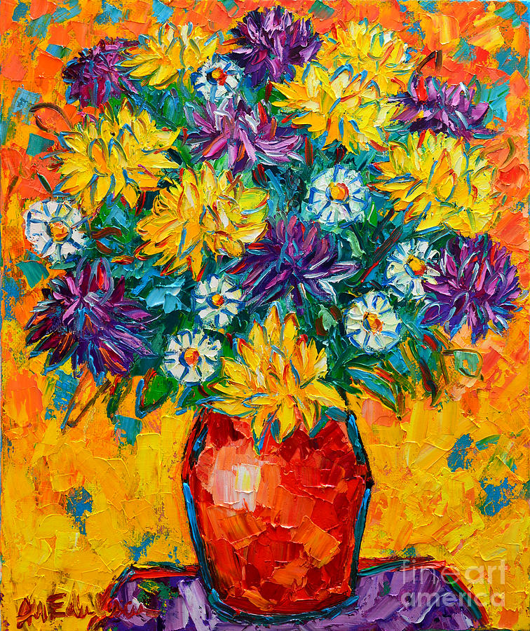 Chrysanthemums Painting - Autumn Flowers Gorgeous Mums - Original Oil Painting by Ana Maria Edulescu