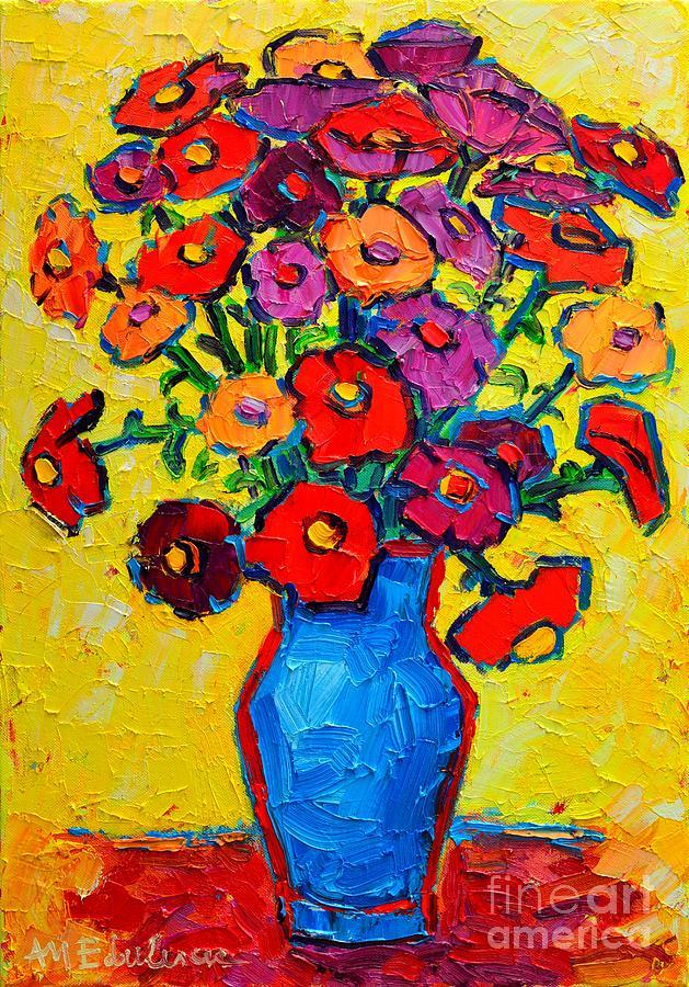 Zinnias Painting - Autumn Flowers Zinnias Original Oil Painting by Ana Maria Edulescu