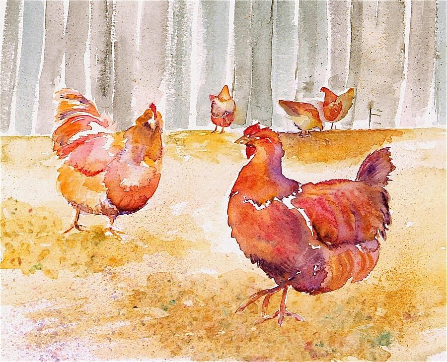 Hens Painting - Autumn Hens by Carolyn Doe
