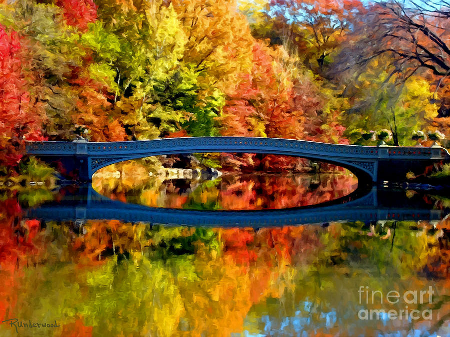 Autumn Impression Of Bow Bridge -central Park Painting  - Autumn Impression Of Bow Bridge -central Park Fine Art Print