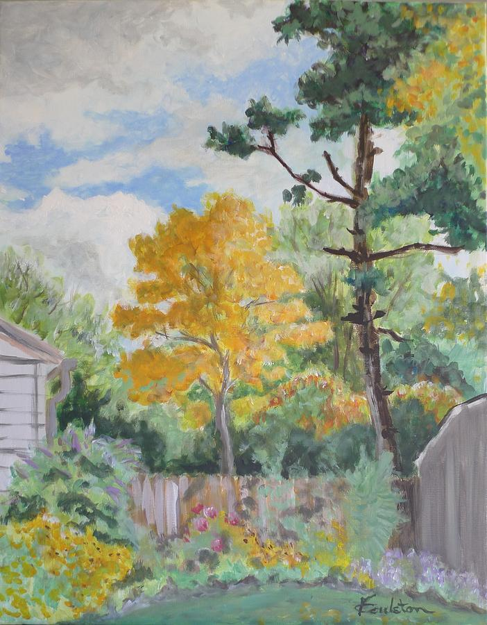 Tree Painting - Autumn In My Garden by Veronica Coulston