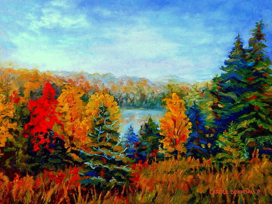 Autumn Landscape Quebec Red Maples And Blue Spruce Trees Painting  - Autumn Landscape Quebec Red Maples And Blue Spruce Trees Fine Art Print