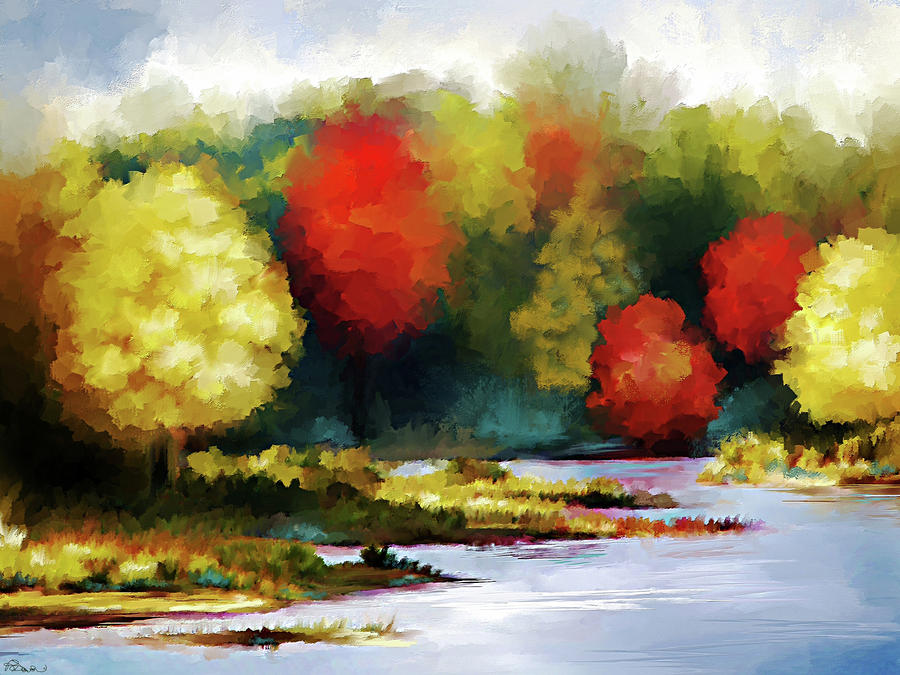 Autumn Landscape Digital Art  - Autumn Landscape Fine Art Print