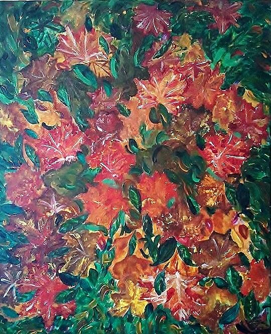 Autumn Painting - Autumn Leaves In A Whilrwind by Derya  Aktas