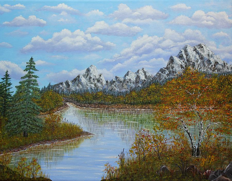 Autumn Mountains Lake Landscape Painting  - Autumn Mountains Lake Landscape Fine Art Print