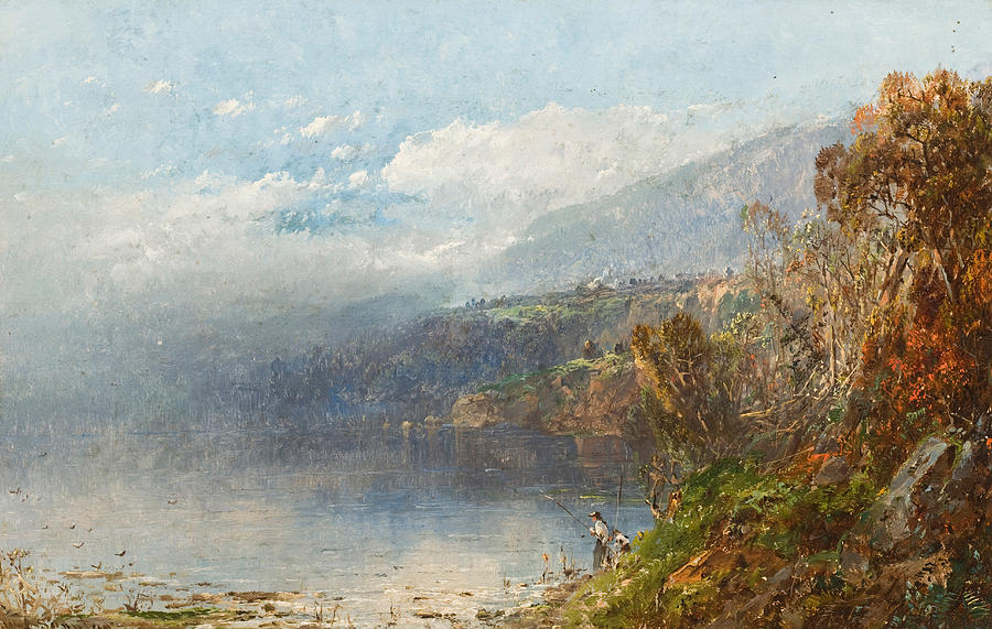 Autumn On The Androscoggin (oil On Canvas)fall; Seasons; Autumnal; River; North America; North American; Maine; New Hampshire; New England; Landscape; Mist; Misty; Wild; Wilderness; Remote; Male; Fisherman; Fishing; Solitary; Riverbank; Landscape Painting - Autumn On The Androscoggin by William Sonntag