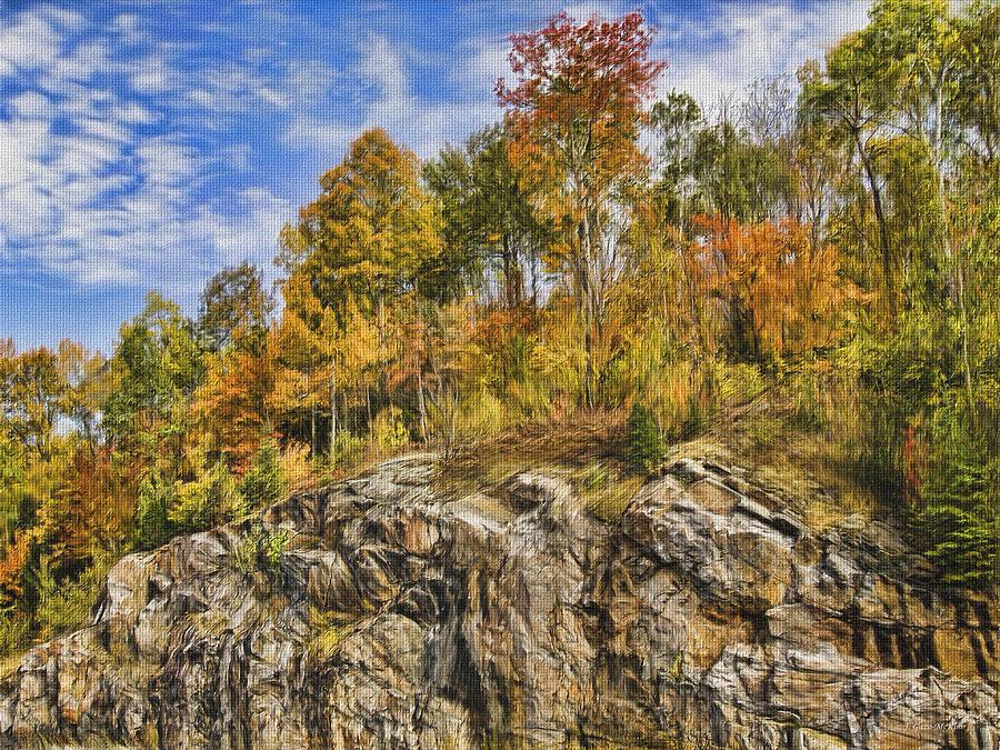 Sunny Digital Art - Autumn On The Rocks by Jo-Anne Gazo-McKim