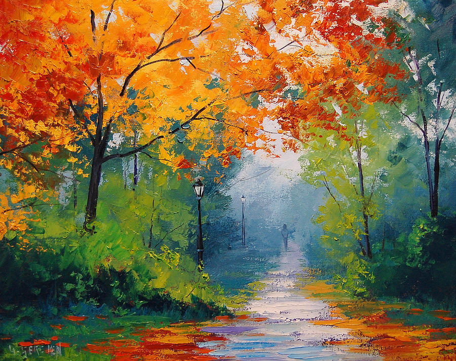 Autumn Park Painting  - Autumn Park Fine Art Print