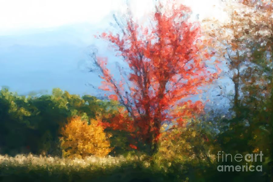 Autumn Red And Yellow Mixed Media  - Autumn Red And Yellow Fine Art Print