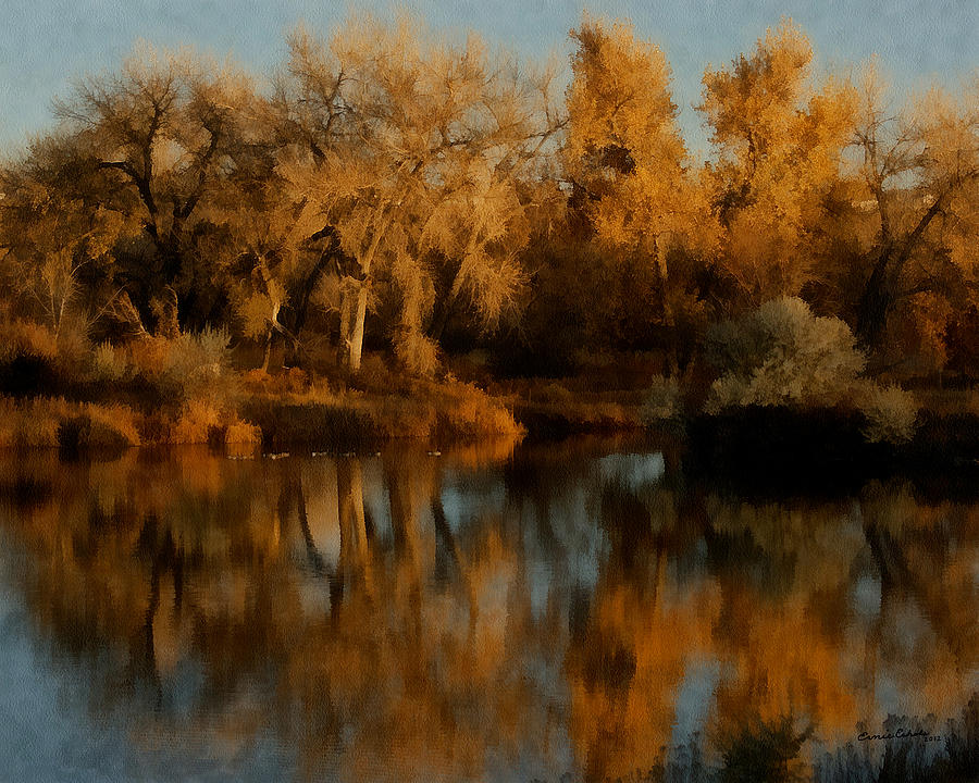 Autumn Reflections Painterly Digital Art  - Autumn Reflections Painterly Fine Art Print