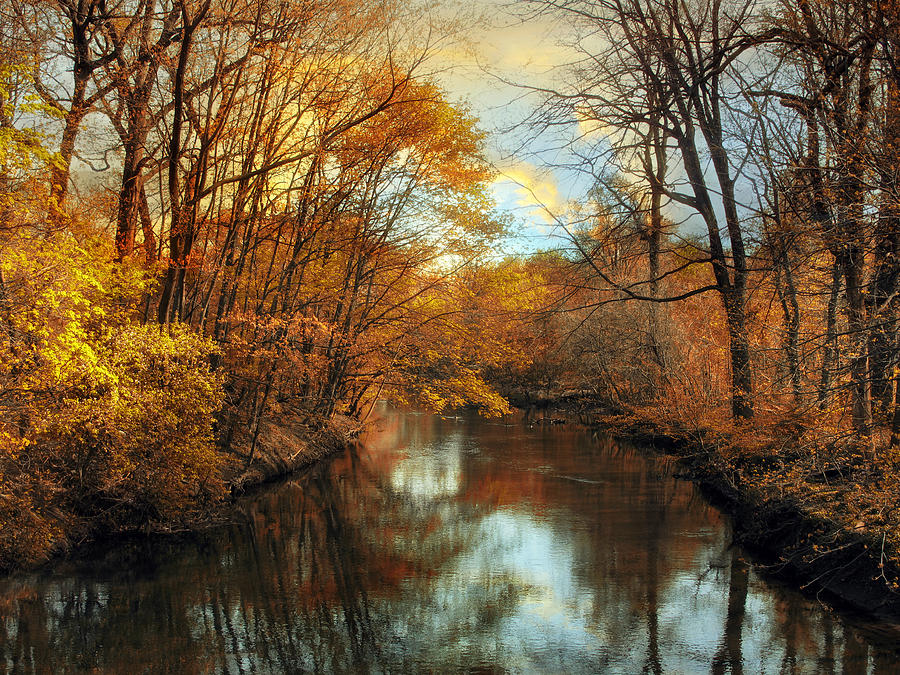 Autumn River Lights Photograph  - Autumn River Lights Fine Art Print