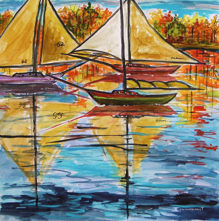 Autumn Sailboats Painting  - Autumn Sailboats Fine Art Print