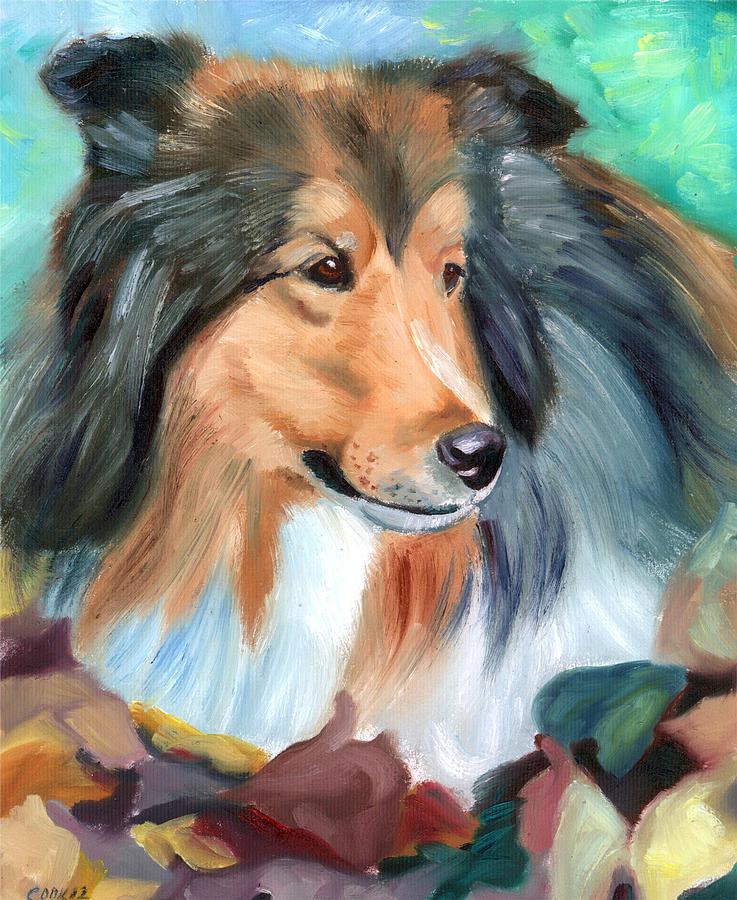 Autumn - Shetland Sheepdog Painting