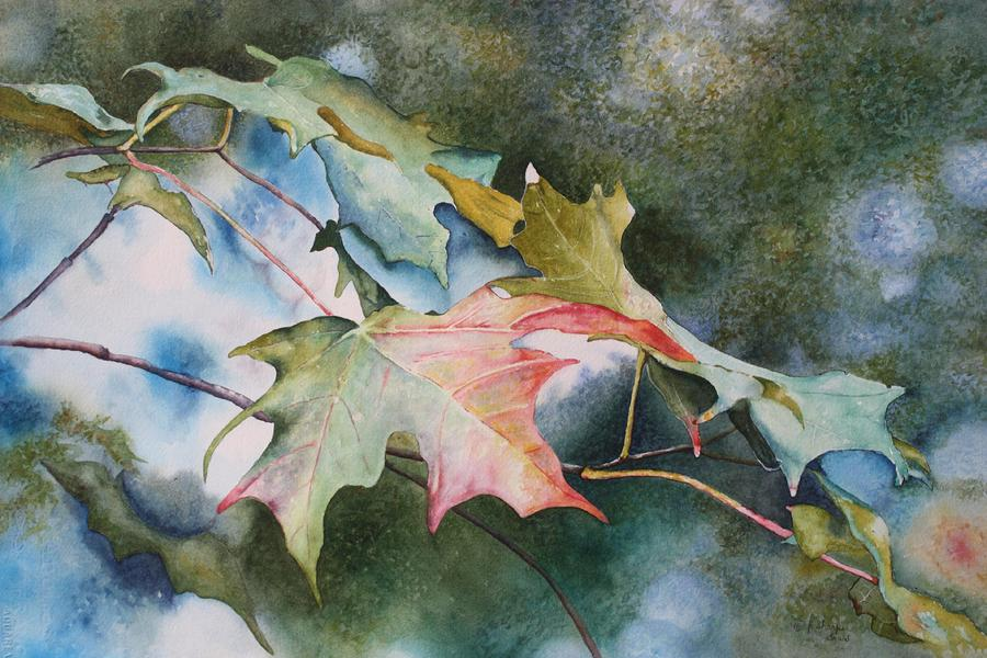 Close Focus Nature Scene Painting - Autumn Sparkle by Patsy Sharpe