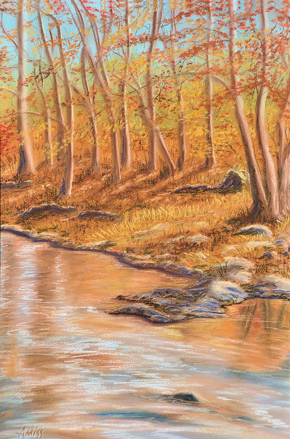 Landscapes Pastel - Autumn Stream by Jan Amiss