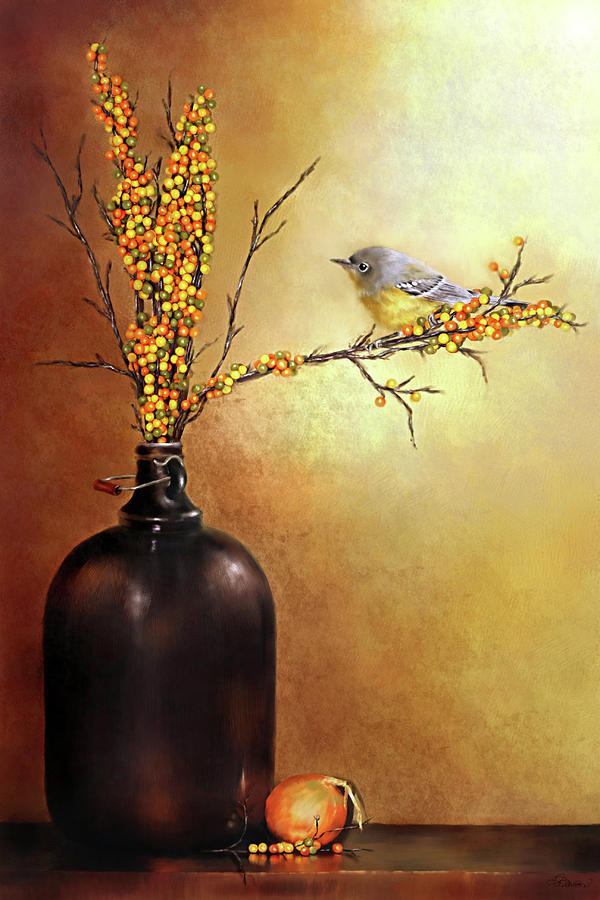 Autumn Warbler Painting