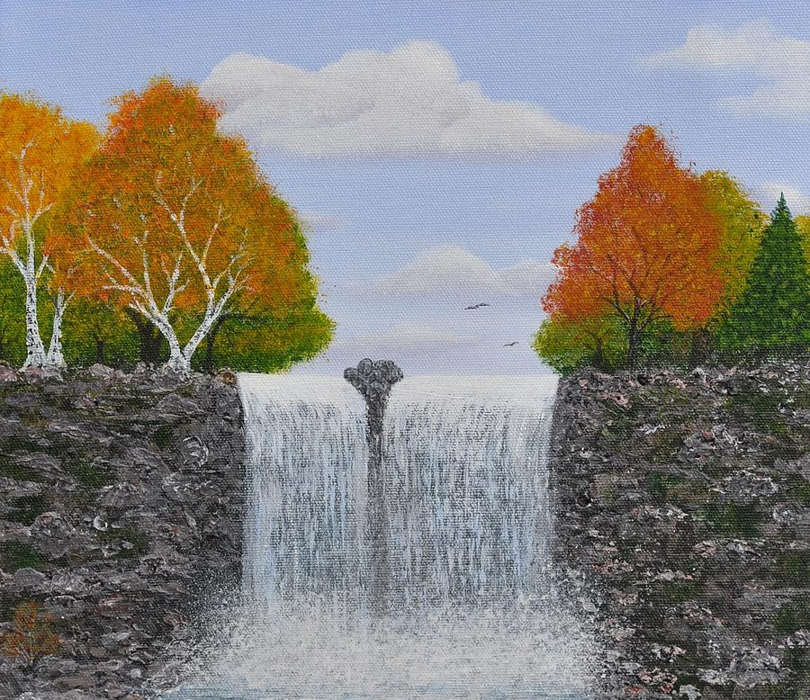 Autumn Waterfall Painting  - Autumn Waterfall Fine Art Print