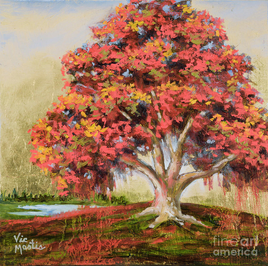 Orange Tree Painting - Autumns Delight by Vic  Mastis