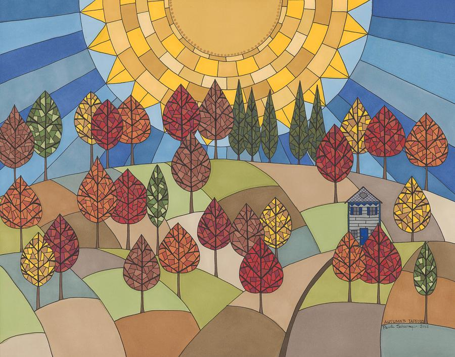 Autumns Tapestry Drawing  - Autumns Tapestry Fine Art Print
