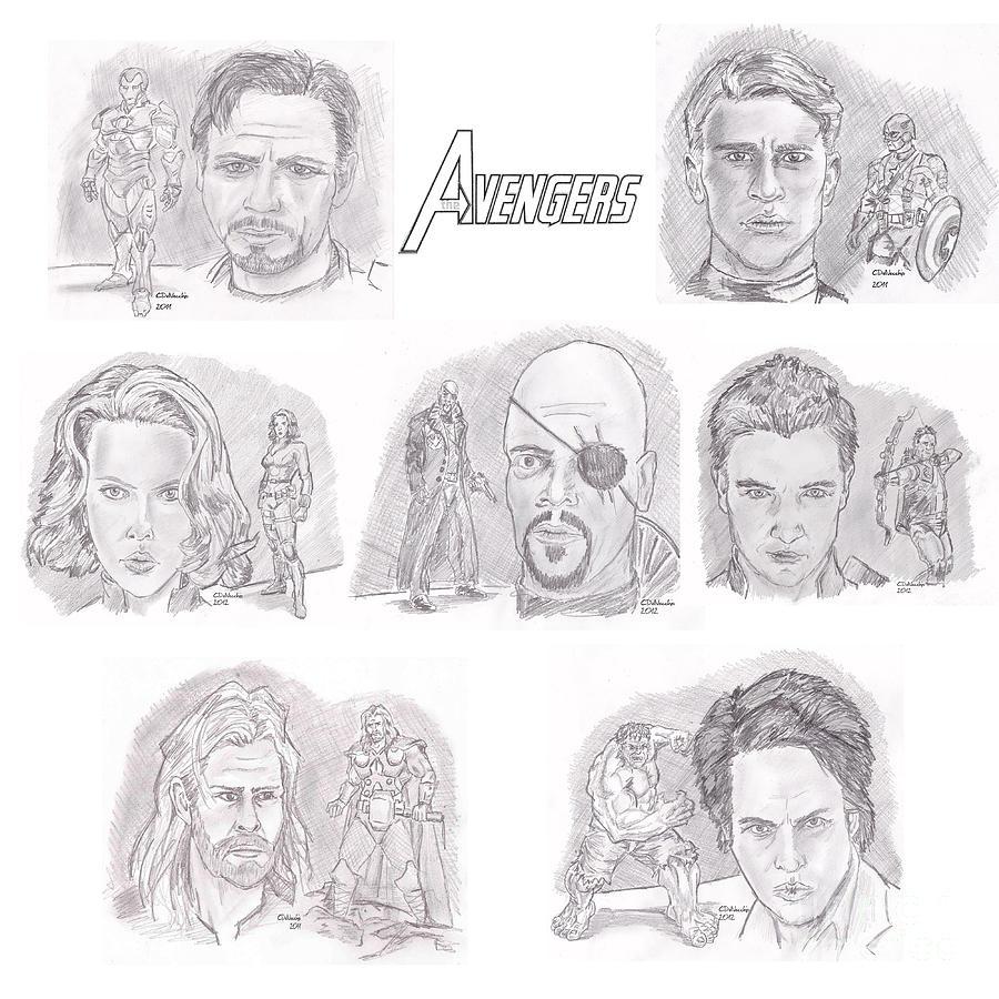 Avengers Team Drawing