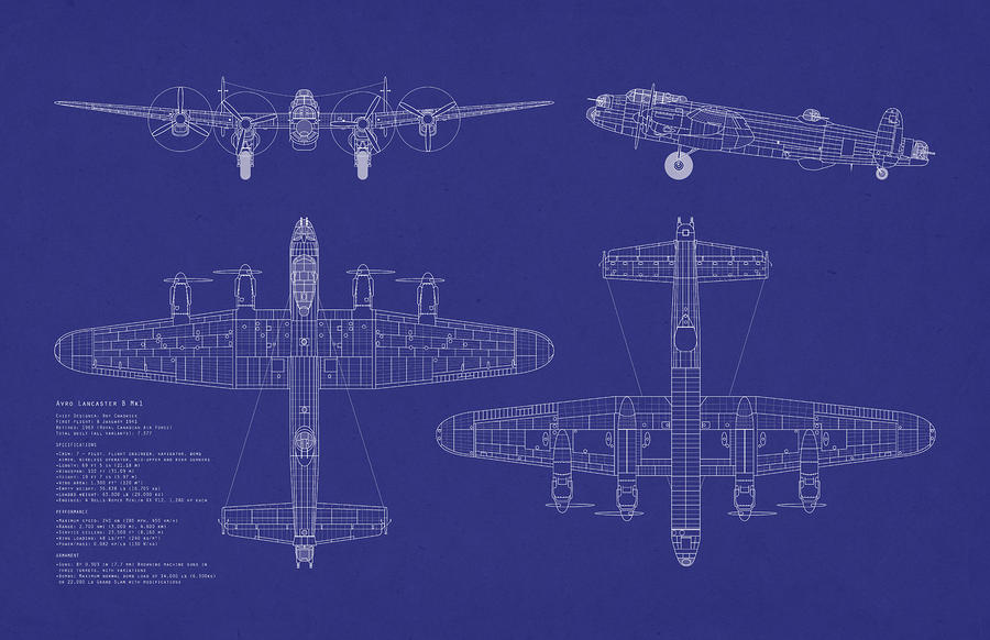 Avro Lancaster Bomber Blueprint Digital Art