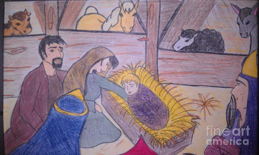 Away In A Manger Drawing  - Away In A Manger Fine Art Print