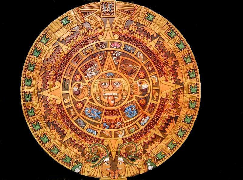 Calendar Art Piece : Aztec calendar painting by eduardo paz