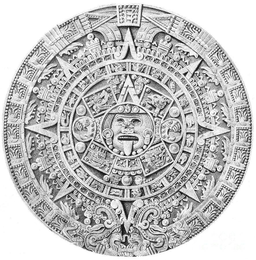 Aztec Calendar Drawing : Aztec calendar photograph by science source